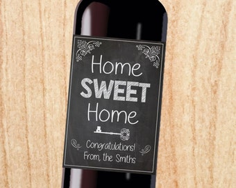 Housewarming Wine label gift PRINTABLE new home sweet home gift