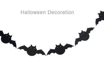 Halloween Glitter Black Bats Garland Decoration - Halloween Window Decoration