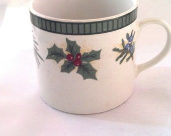 Vintage Fairfield Fine China Wintergreen Christmas Mug Cup
