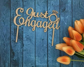 Just engaged Cake Topper; wedding; cake topper; acrylic cake topper; wood cake topper; cake topper australia; engagment cake topper;