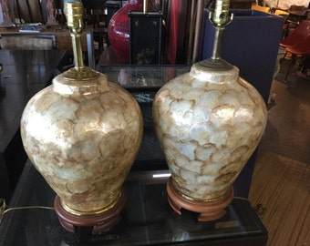 Capiz Shell Lamps, Pair on Sale