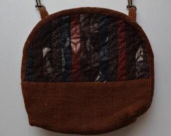 Patchwork shoulder bag, small hand made cotton crossbody bag, vintage Japanese fabrics, leather strap