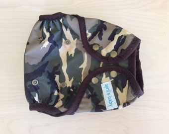 One Size Waterproof PUL Cloth Diaper Cover - Flip style, Camo