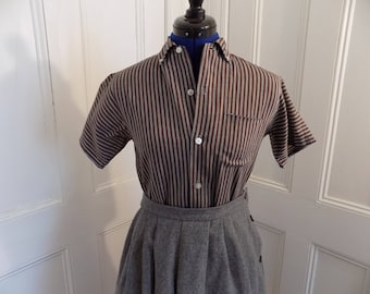 1950s 50s Brown and Gray Striped Blocks Sanforized Button Down Blouse Top Shirt