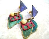 80s Bohemian Earrings - Bohemian Jewelry - Boho Earrings - Gypsy Earrings - Boho Jewelry - Boho Chic - Vintage 80s Earrings