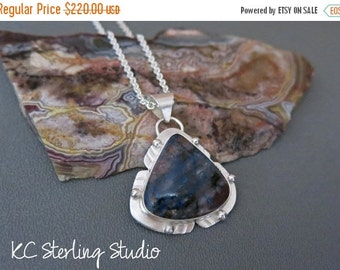 20% OFF Holiday Sale - Shattuckite stone and sterling silver pendant necklace - metalsmith silversmith