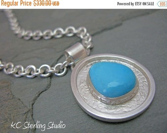 20% OFF Holiday Sale - Silversmithed sleeping beauty turquoise and sterling pendant necklace on heavy sterling chain