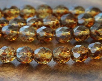 Crystal Picasso Czech Glass Beads, 8mm Faceted Round - 25 pcs - eT0003-8