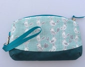 Turquoise and grey bird printed cosmetic bag