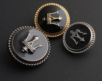 6 pcs 0.45~0.91 inch Retro Gold/Silver/Gun Spear Metal Shank Buttons for Suits Coats