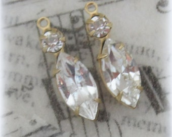 Marquise Navette Swarovski Crystal 1 Ring Multi Stone 23MM Brass Drops