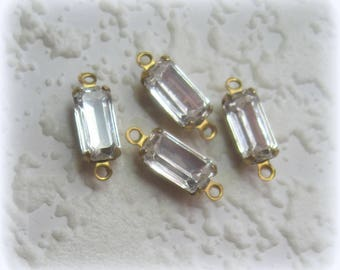 Swarovski® Crystal, Clear, Genuine, Rectangle, Long Baguette, Rhinestone, 15MM, 2 Ring, Open Backed, 4 Prong, Brass, Setting, Connector