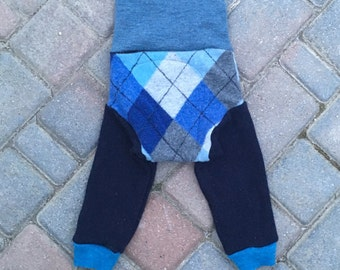 Cloth Diaper Cover, Wool Soaker Cover, Upcycled, Longies, Wool Pants - Blue and Grey Argyle - Size Large