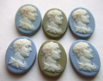 Vintage Olive Green and Wedgewood Blue Roman Cameo Cabochons  x 6  # SSS 7