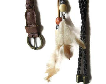 3 boho hippie accessories, braided leather belt, thong with feathers, braided tie on with bells