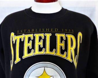 vintage 90's Pittsburgh Steelers black fleece graphic sweatshirt XL NFL Football white puffy print yellow big logo crew neck pullover jumper