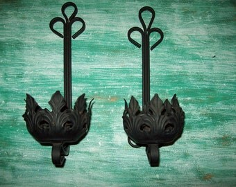 Wrought iron sconces candle holders leaf cup black metal scrolls fleur de lis  wall decor country rustic vintage retro candle stick