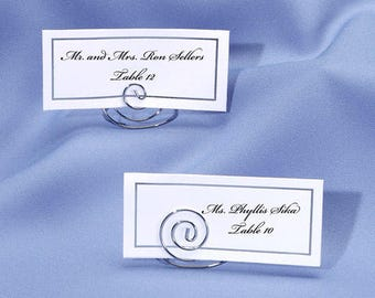 Set of 10 - Silver Place Card Holder - Table Number Holder - Photo Holder - Place Card Holders - Table Number Holders Wire Swirl