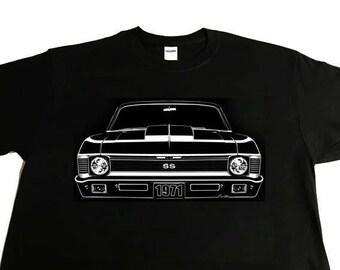 Car Grille Art Tee shirt, T-Shirt, 1971 Chevy Nova SS Cowl Hood.