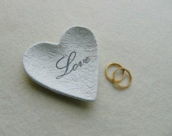 Love 12 Wedding Favors, 12 Wedding Heart Dish Favors, Clay Wedding Favors, Ring Bearer Dish