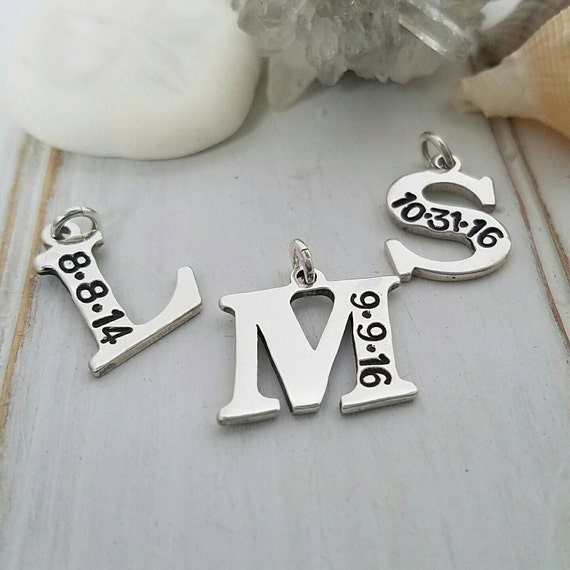Add on initial charm, custom initial, letter and date charm, personalized mother jewelry, Hand stamped, Birth date initial, Add on charms