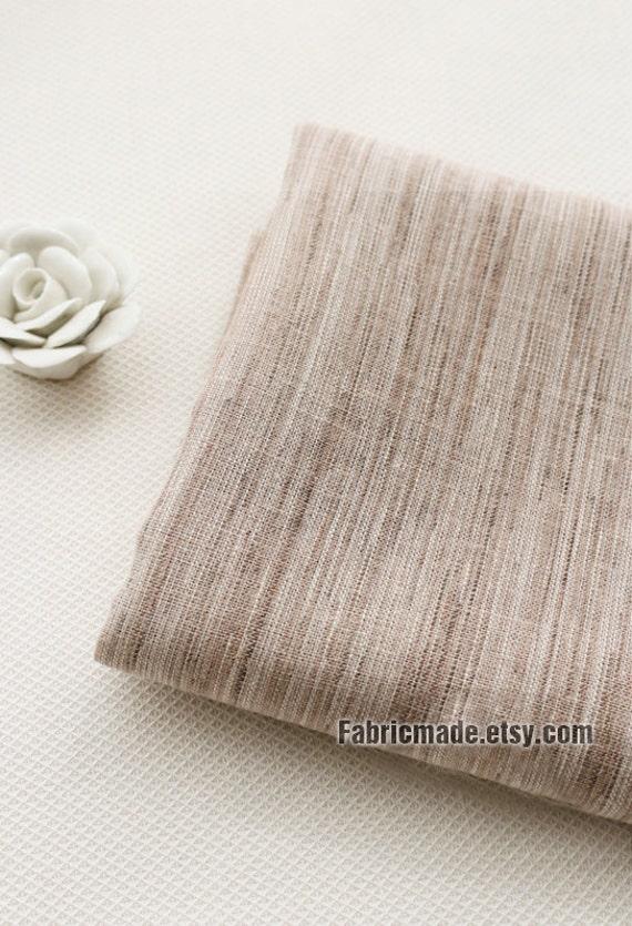 Brown White Irregular Stripes Cotton Fabric Vintage Style - 1/2 yard
