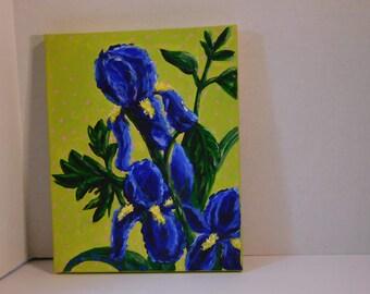 "Original ""Blue Iris"" painting - Acrylic on canvas by Julie Miscera  2016  8""x10"""