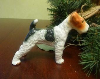 Porcelain Airedale or Lakeland Terrier Dog Figurine     (T)