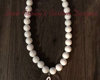 Monogram large bead necklace