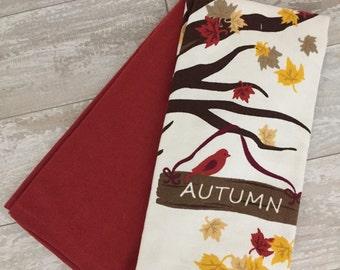 Autumn Leaves Monogrammed Kitchen Towel Set - Set of 2 - Tea Towels - Bridal Gift - Shower Gift - Birthday Gift - Hostess Gift