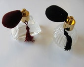 Pair of Vintage  Perfume Bottles with Atomizers, Tassels, Collectible bottles, matching set, Bath and Beauty, vanity decor,  gift idea