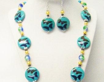 Butterfly Print Faux Howlite Disc Bead Necklace/Bracelet/Earrings