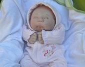 """CUSTOM listing for Indra. OOAK Soft Sculptured Newborn Baby Girl, Textile Baby Doll, 52 cm / 20"""" tall"""
