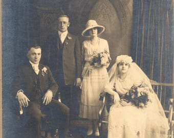 Photo of Circa 1920 Wedding Party Bride Groom