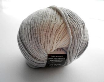 Pale Gray and Natural Color Organic Cotton Yarn, Palma by Tahki Yarns, Worsted-Weight Yarn
