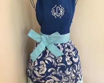 Monogram Apron | Teacher Gift | Saying | Blue Kitchen Apron | Aqua Tiffany's | Shabby Chic | White | Thanksgiving Apron | Full Half Apron