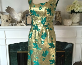 50s Gold Orchid Classic Bombshell Party Dress
