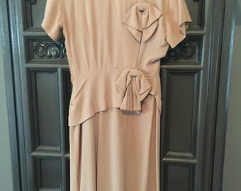 Bow Back 40s Neutral Rayon Dress