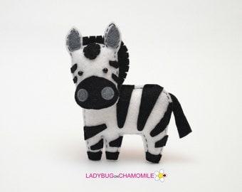 Felt ZEBRA, stuffed felt Zebra magnet or ornament, Zebra toy, African animals, Nursery decor, Zebra magnet,Safari animals,cute, Zebra