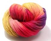 Hand dyed Yarn - Hand painted Sock yarn  - Sock Yarn Fingering -  Orange,   lilac, rose - Spring- knitting shawl - hand dyed yarn - OOAK