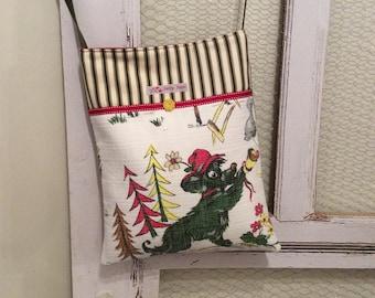 Vintage barkcloth and velvet fabric mini messenger bag - French dog