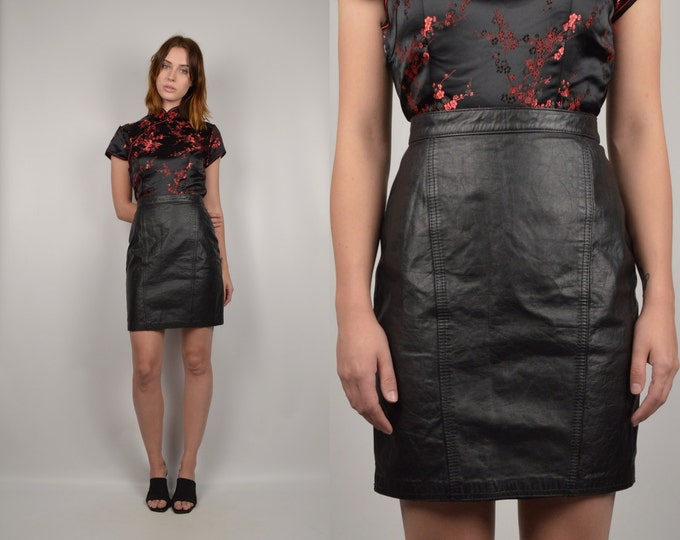 80's Black Leather High Waist Skirt vintage