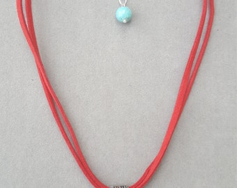Red Leather Choker with Turquoise Pendant