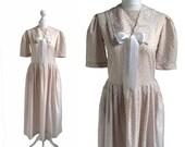 Vintage Laura Ashley Dress - Fawn Floral Print Dress - Sailor Collar - 80's Dress