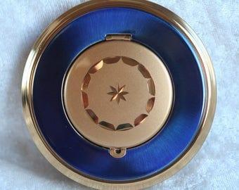 FREE SHIPPING 1970s Vintage KIGU Locket Top Powder Compact Blue Enamel Birthday Gift Bridesmaid Bridal Gift