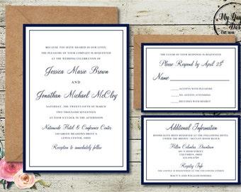 Navy Script - Wedding Invitation - Digital
