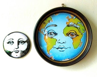 Planet Earth Wall Hanging-  Round Framed Art Print- Unity Peace Mother Earth
