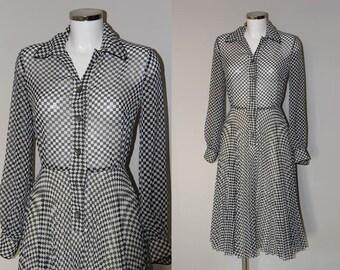 1970s Leshgold London Black & White Checkered Chiffon Dress with Knife Pleat Skirt
