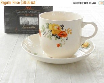 On Sale Homer Laughlin 1930's Orange Poppy Tea Cup and Saucer Set, Espresso Cup, Coffee Mug, Tea Party, Retro, Cottage Style, Cocoa Mug, L39