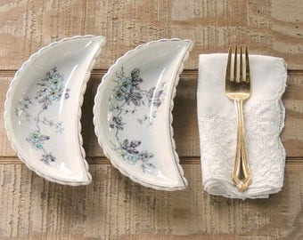 Mismatched Transferware Antique Bone Dishes Set of 2 Crescent Shape Dishes Tea Party Supplies, Wedding Table Decor Trinket Dishes